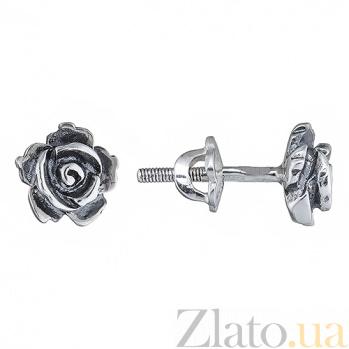 Серебряные пусеты Роза ONX--12515