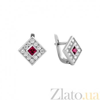 Серьги в белом золоте Клэрити с рубином и бриллиантами 000079185
