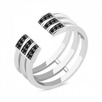 Серебряное кольцо с черными фианитами 000149537