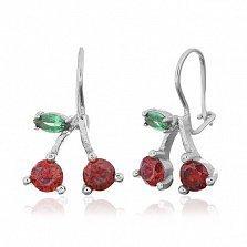 Серебряные серьги Вишенки с красными и зелеными фианитами