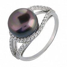 Серебряное кольцо Алевтина с черным жемчугом