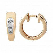 Золотые серьги-колечки Маура с бриллиантами
