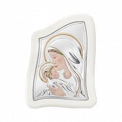 Икона Богородица с младенцем, с серебрением
