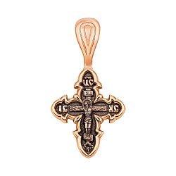 Крестик из красного золота с чернением 000125388