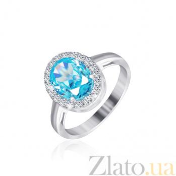 Серебряное кольцо Полидора с голубым и белым цирконием 000025457