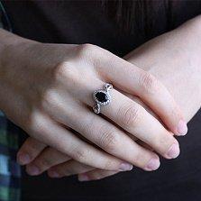 Серебряное кольцо с дымчатым кварцем и фианитами Пиония