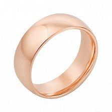 Золотое обручальное кольцо Вечная классика в красном цвете