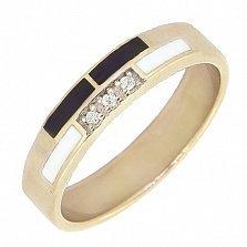 Золотое кольцо Трейси с бриллиантами и эмалью