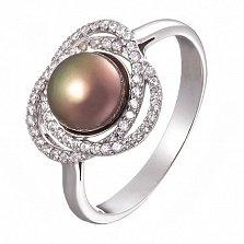 Серебряное кольцо Розочка с черной жемчужиной и фианитами