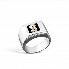 Серебряный перстень-печатка Богатство с золотой вставкой и имитацией оникса