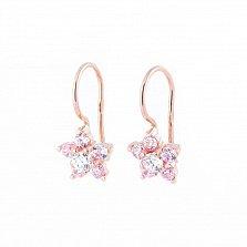 Золотые сережки Незабудки с розовыми и белыми фианитами на французской застежке