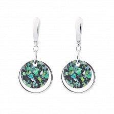 Серебряные серьги-подвески с геометрическими кругами и разноцветными опалами