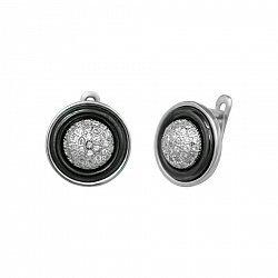 Серебряные серьги Британи с черной керамикой и фианитами