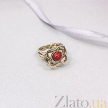 Золотое кольцо Драгоценная магнолия с красным кораллом 000093981