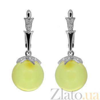 Серебряные серьги с цирконием и янтарём Глазурь ZMX--ECzAmber-6952-Ag_K