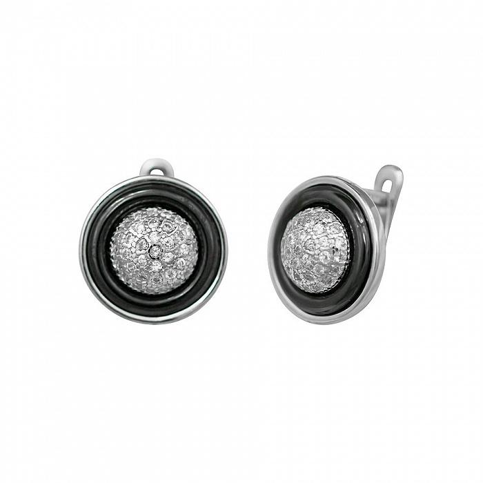 Серебряные серьги Британи с черной керамикой и фианитами 000081826