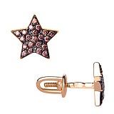 Золотые сережки-гвоздики Звездочки с коньячными фианитами