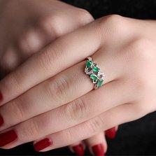 Серебряное кольцо Абриэль с изумрудами и цирконием