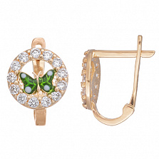 Золотые серьги с цирконием и зеленой эмалью Мотылек