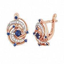 Позолоченные серебряные сережки с синим цирконием Galaxy