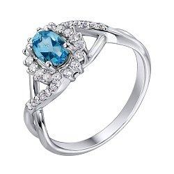 Серебряное кольцо с топазом и фианитами 000141313
