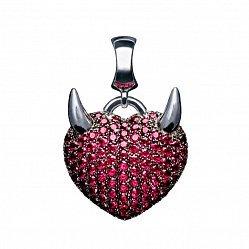 Серебряный кулон-шарм Сердце с рожками с красной синтезированной шпинелью 000073314