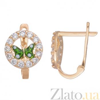 Золотые серьги с цирконием и зеленой эмалью Мотылек 25286/1зел