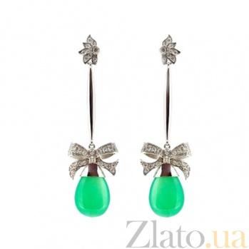 Золотые серьги с бриллиантами и хризопразами Pleasure ZMX--EDChr-00163w