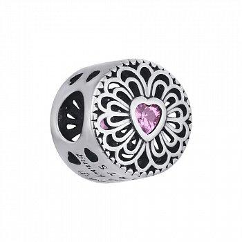 Срібний шарм з рожевим фіанітом 000116469
