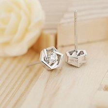 Золотые серьги-пуссеты Princess Earrings в белом цвете с бриллиантами, 0,14ct