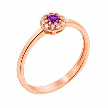 Кольцо из красного золота с аметистом и фианитами 000131266