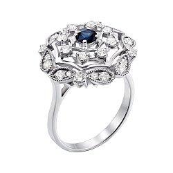 Кольцо из белого золота с сапфиром и бриллиантами 000148365