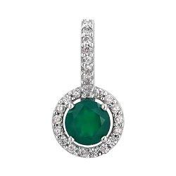 Серебряная подвеска с зеленым агатом и фианитами 000067723