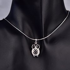 Серебряный кулон Мудрый филин с черными и белыми фианитами