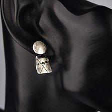 Серебряная серьга-пуссета Манту с черными фианитами