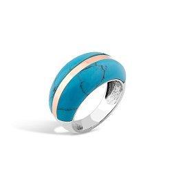 Серебряное кольцо Эрика с золотой накладкой и имитацией бирюзы