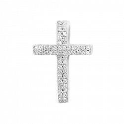 Серебряный крестик Зимний сон с фианитами