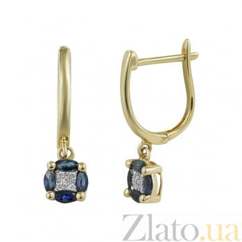 Золотые серьги с сапфирами и бриллиантами Поликсена 000026661