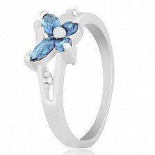 Серебряное кольцо с фианитами Голубой мотылек