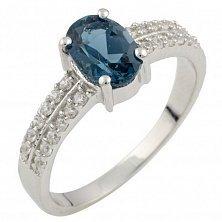 Серебряное кольцо Эмили с топазом лондон и фианитами