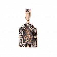 Золотая ладанка с чернением Милующая Богородица