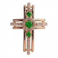 Золотой крестик с изумрудами и бриллиантами Доротея