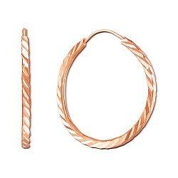 Золотые серьги-кольца с алмазными гранями, d 20mm 000115561