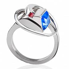 Эксклюзивное кольцо Объятия с рубином и топазом