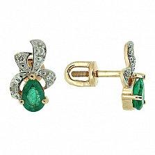 Золотые серьги с бриллиантами и изумрудами Лиза