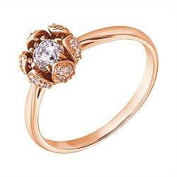 3олотое кольцо в красном цвете с фианитами 000113980
