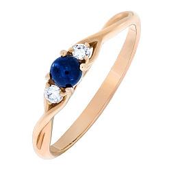 Золотое кольцо Беатриче с сапфиром и бриллиантами