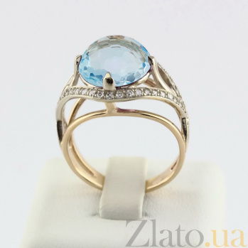 Золотое кольцо Армель с голубым кварцем и фианитами  VLN--112-1261-11