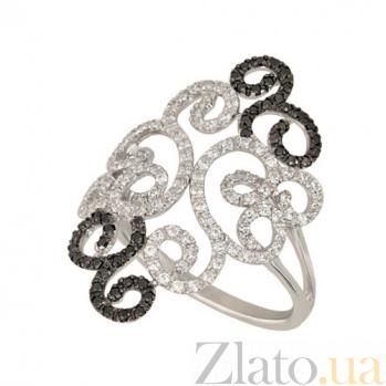 Кольцо из белого золота Арабеска с цирконием VLT--ТТТ1203