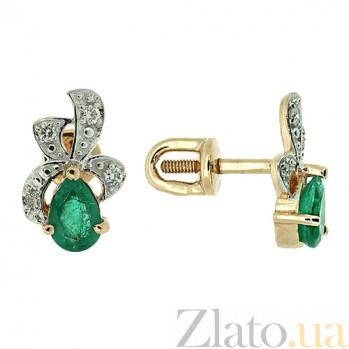 Золотые серьги с бриллиантами и изумрудами Лиза ZMX--EDE-5568_K